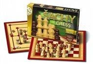 Šachy, dáma, mlýn dřevěné figurky a kameny