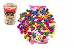 Korálky dřevěné barevné s gumičkami 900ks