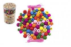 Korálky dřevěné barevné s gumičkami 800ks