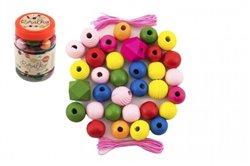 Korálky dřevěné barevné MAXI s gumičkami 54ks
