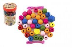Korálky dřevěné barevné MAXI s gumičkami 106ks