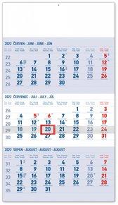 Nástěnný kalendář 3měsíční standard modrý - s českými jmény 2022, 29,5 x 43 cm
