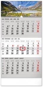 Nástěnný kalendář 3měsíční Krajina šedý - s českými jmény 2022, 29,5 x 43 cm
