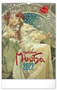 Nástěnný kalendář Alfons Mucha 2022, 33 x 46 cm