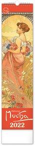 Nástěnný kalendář Alfons Mucha 2022, 12 x 48 cm