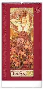 Nástěnný kalendář Alfons Mucha 2022, 33 x 64 cm