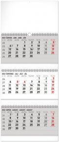 Nástěnný kalendář 3měsíční standard skládací CZ 2022, 29,5 x 69,5 cm