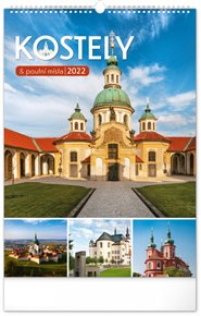 Nástěnný kalendář Kostely a poutní místa 2022, 33 x 46 cm