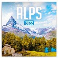 Poznámkový kalendář Alpy 2022, 30 x 30 cm
